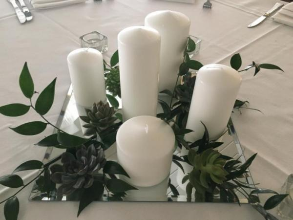 Candle Centerpiece With Greens