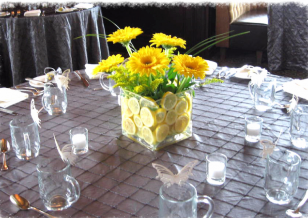 Gerbers & Lemon Centerpiece