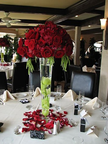 This is a tall centerpiece used at a wedding or even a dinner reception