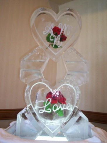 Double Hearts & Initials Ice Sculpture