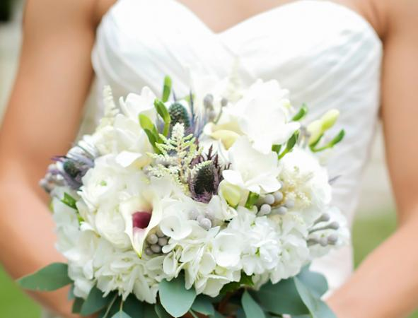 White Bridal Bouquet with Eucalyptus