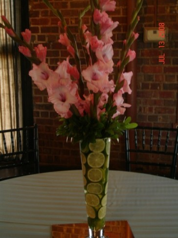 Wedding Party Photo Gallery Floral Centerpiece With Cut Limes