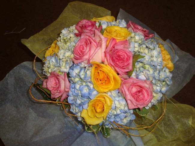 Beach Bridal Bouquet Share Colorful roses hydrangeas make up a colorful