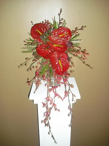 Bright Red Tropical Bridal Bouquet personal
