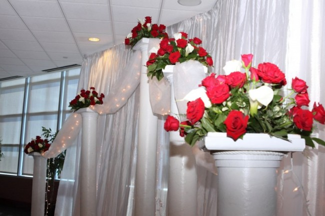 Wedding Columns With Christmas Flowers