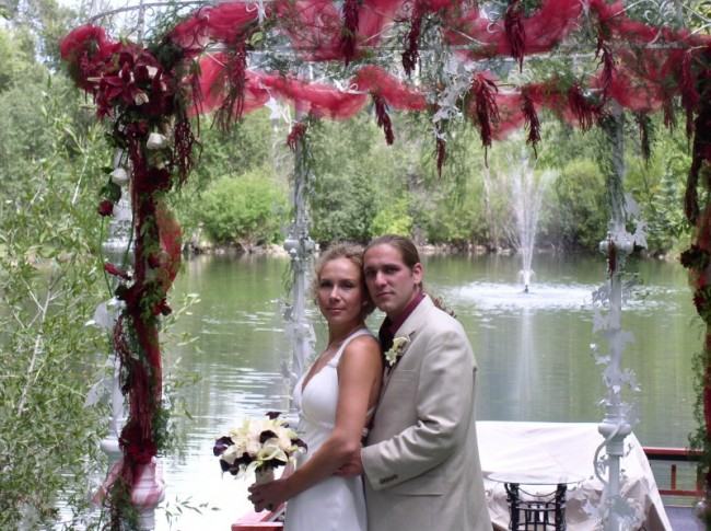 The beautifully decorated wedding gazebo is the perfect backdrop for the