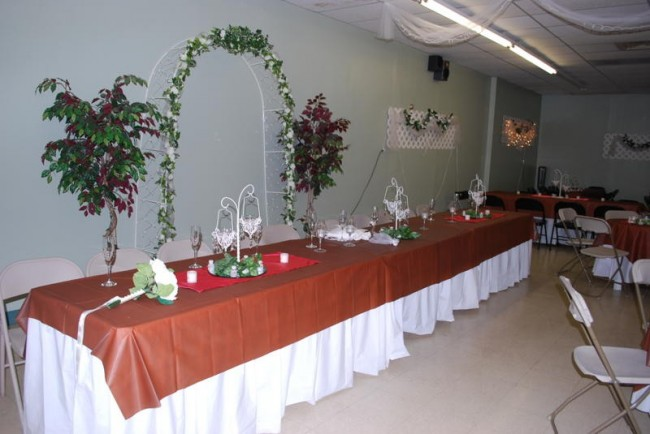 Beautiful wedding buffet table decorated with great reception centerpieces
