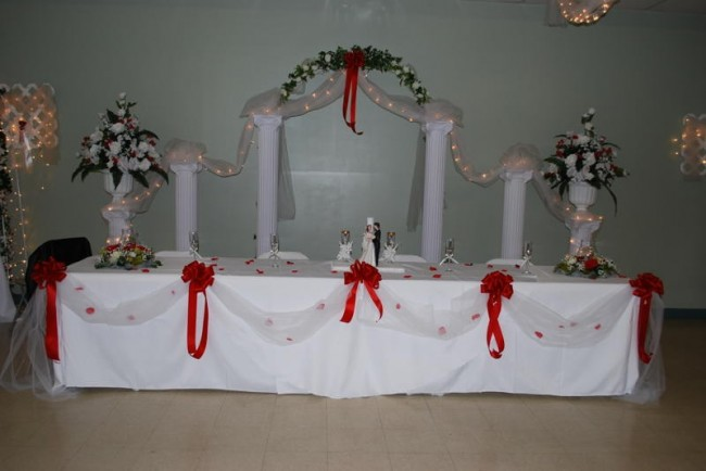 Beautifully decorated wedding reception table for the bride and groom at