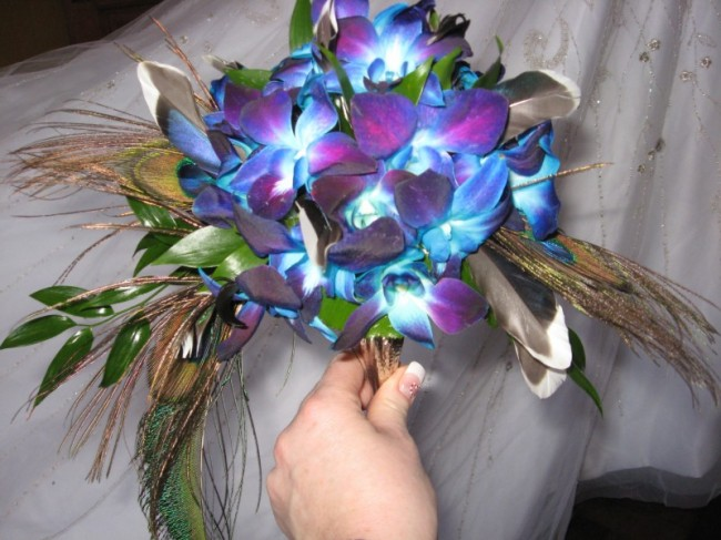 Tropical Wedding Bouquet with Bom Dendrobium Orchids and Peacock and Mallard