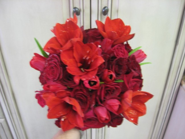 Red Hot Wedding Bouquet with Red Amaryllis and Red Roses