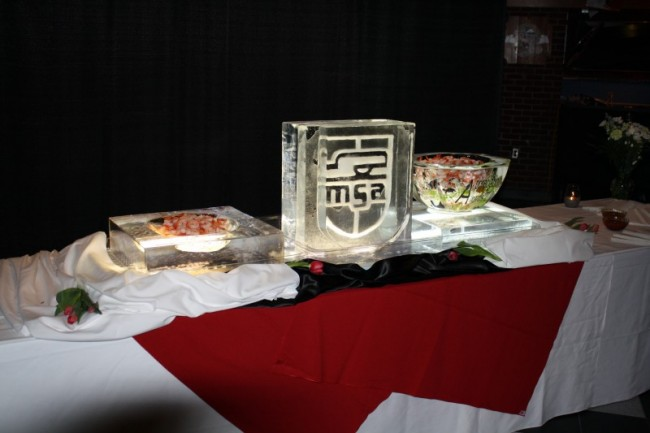 College Logo Ice Sculpture & Ice Servers