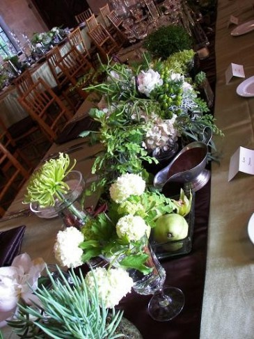 Green and White Wedding Reception Flowers