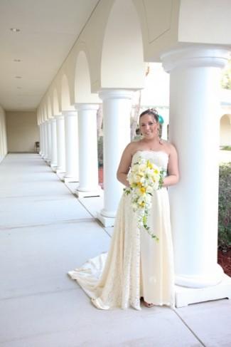 Yellow ivory wedding dress