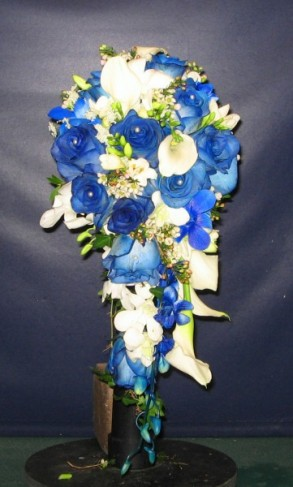 Blue and White Cascading Bridal Bouquet Share