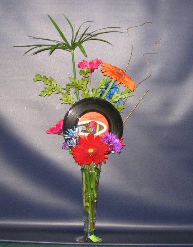 Record Hop Fower Centerpiece