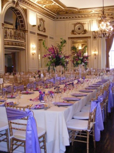 A beautiful Empire table set up at the Colony Club in Downtown Detroit