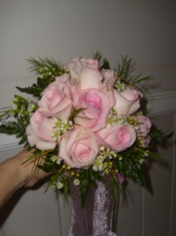 A gorgeous pale pink rose bridal bouquet would look absolutely amazing in