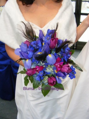 Winter Blue Wedding Bouquet Share Iris delphinium hydrangea orchids and