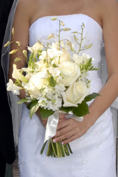 Handtied Bridal Bouquet With A Variety of White Flowers