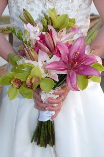 Stunning Handtied Green and Pink Wedding Bouquet