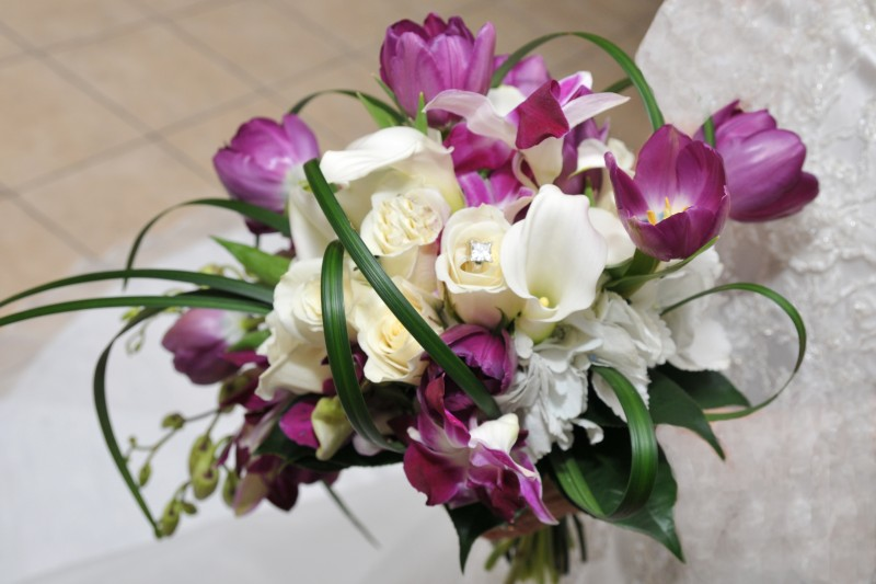 Dazzling Bridal Bouquet in Whites and Purples