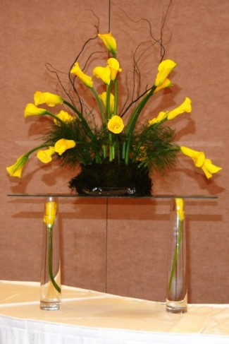 Lovely Yellow Calla Lily Centerpiece