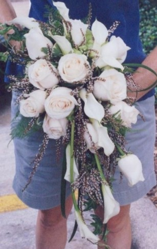 Cascading White Rose Bridal Bouquet