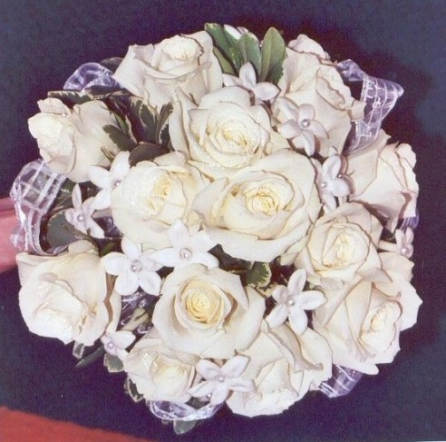 Elegant White Rose Wedding Bouquet