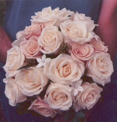Coral Pink & Ivory Rose Wedding Bouquet
