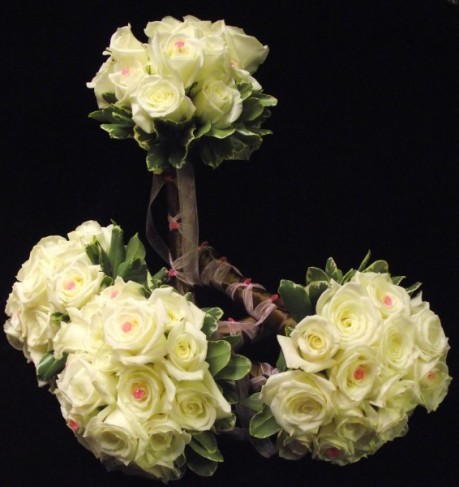 All White Rose Bridesmaids Bouquets