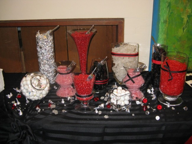 Wedding Party Photo Gallery Candy Buffet red and black
