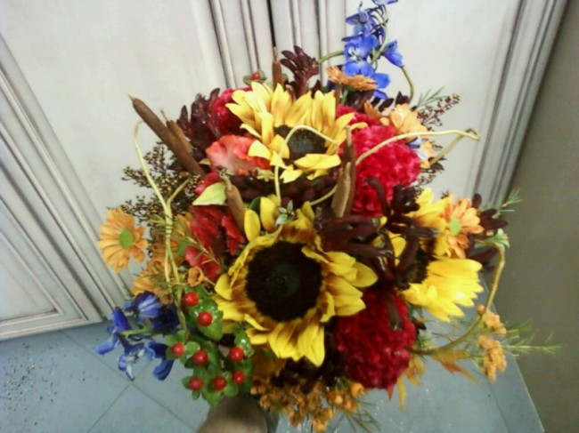 This gorgeous sunflower bridal bouquet is the perfect piece for any fall