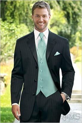 Black Tuxedo with Mint Green Vest