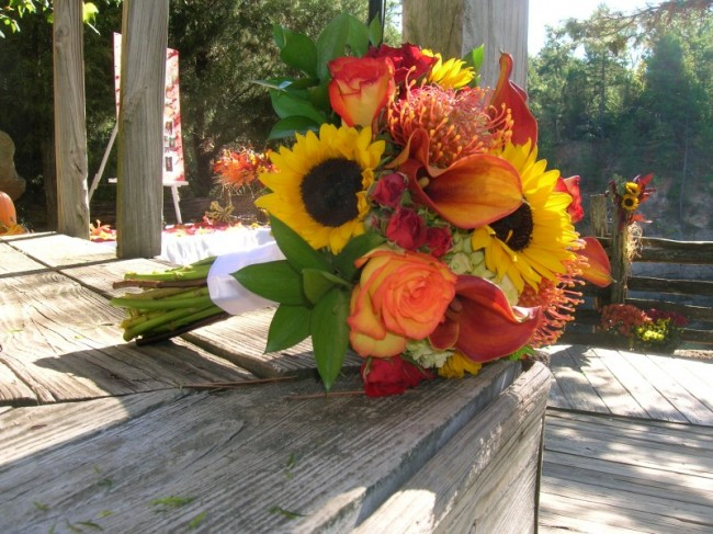 Wedding flowers like this are the perfect accent piece for a fall wedding