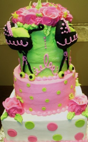 pink and green baby shower cakes