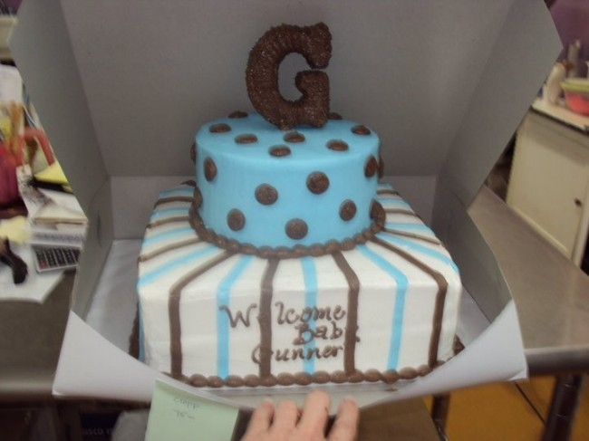 Photo Gallery - Photo Of Blue & Brown Baby Shower Cake