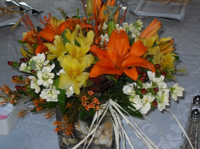 Orange & Yellow Reception Centerpiece