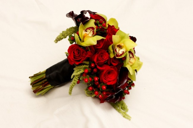 Red & Green Wedding Bouquet
