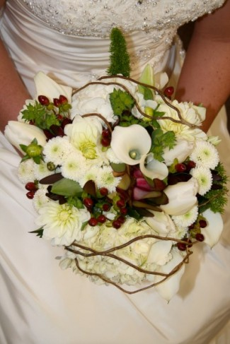 White & Red Wedding Bouquet