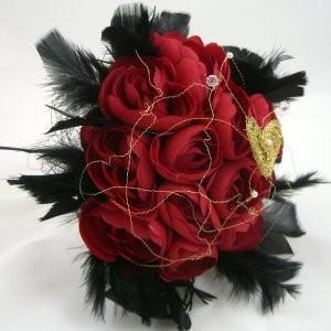 Red Rose & Black Feather Posy Wedding Bouquet