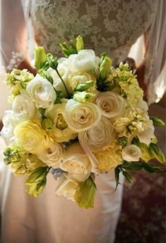 Pale Yellow White Cream Bridal Bouquet Share