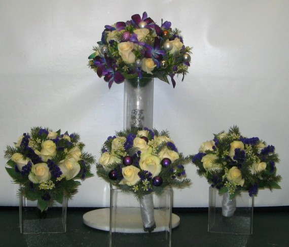 Purple & Ivory Wedding Bouquets
