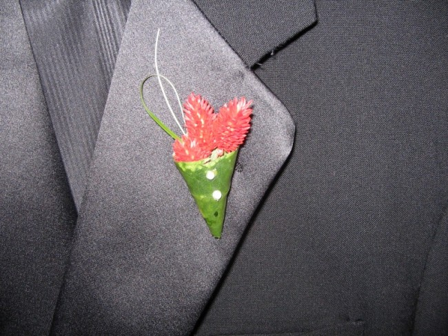Unique Red Boutonniere