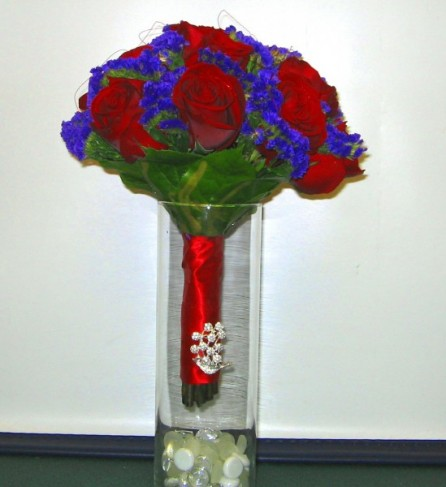 Red & Blue Wedding Bouquet