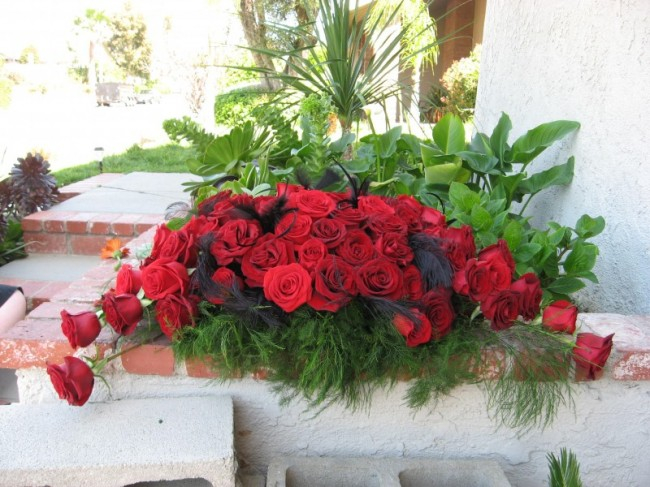 Wedding Party Photo Gallery Red Rose Floral Arrangement