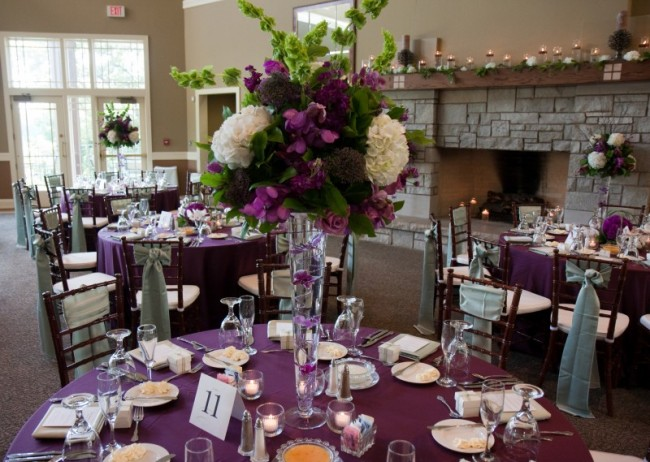 This Beautiful Purple And Cream Wedding Centerpiece Is Made Up Of Hydrangeas