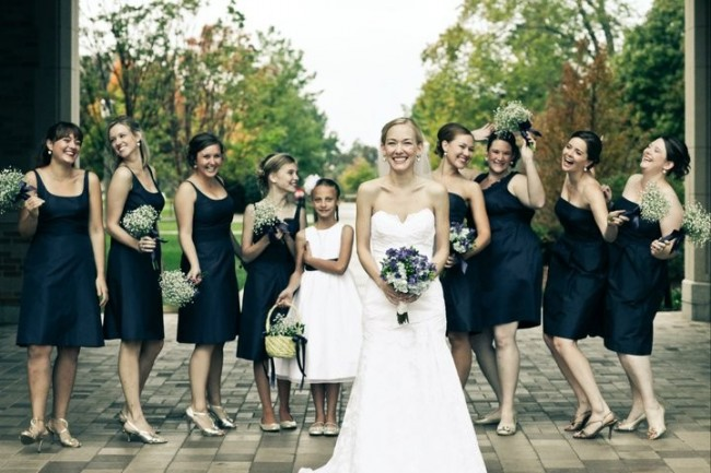 bridesmaids with their beautiful baby 39s breath wedding bouquets