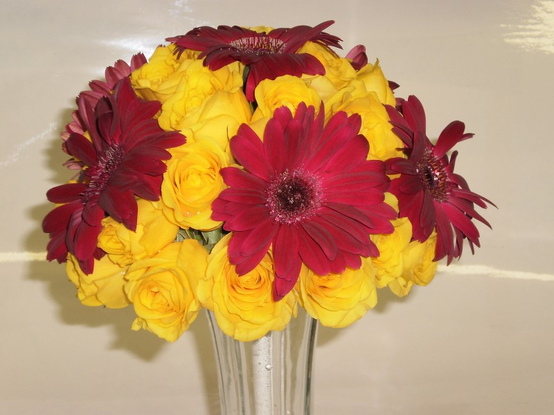 Gallery Photo Of Burgundy Gerbers Yellow Rose Bridesmaid Bouquet