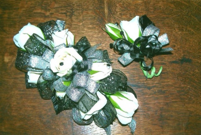 Green & White Corsage And Matching Boutonniere