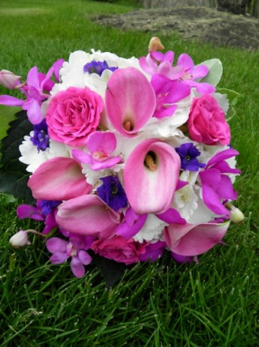 Pink White Purple Bridal Bouquet